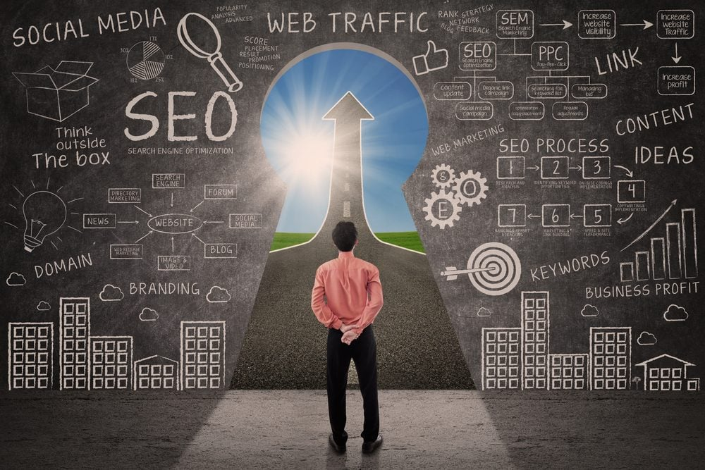 Businessman looking through key hole with SEO - Best Page Ranking Factors